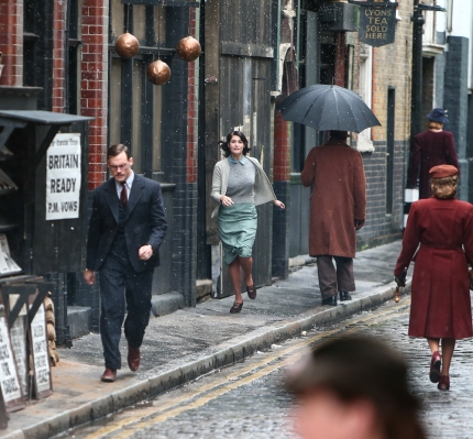 Gemma Arterton and Sam Claflin film a scene for the movie 'Their Finest Hour and a Half' in east London Featuring: Gemma Arterton, Sam Claflin Where: London, United Kingdom When: 16 Sep 2015 Credit: WENN.com