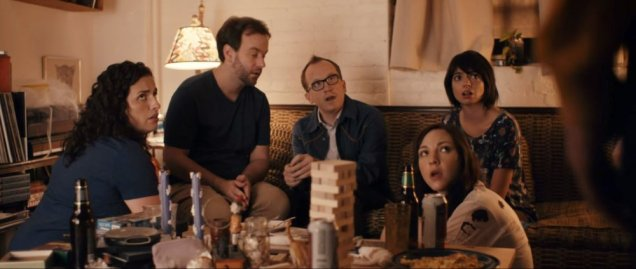 DON'T THINK TWICE, back, from left: Tami Sagher, Mike Birbiglia, Chris Gethard, Kate Micucci, 2016. © The Film Arcade