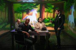 American Gods Season 1 2017 Bruce Langley (Technical Boy), Ricky Whittle (Shadow Moon), Ian McShane (Mr Wednesday), Crispin Glover (Mr. World) - 105 CR: Jan Thijs/Starz