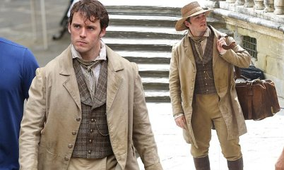 Actor Sam Claflin and Pierfrancesco Favino are seen on the set of the movie My Cousin Rachel on June 06, 2016 in Arezzo, Italy. Photo BEESCOOP.COM exclusive
