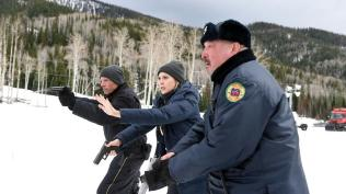 When a Native American teenager is found dead, FBI agent Jane Banner (Elizabeth Olson, center) works with local police (Graham Greene, right, Hugh Dillon) to figure out what happened.