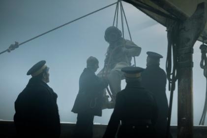 Ciarán Hinds as John Franklin, Trystan Gravelle as Henry Collins - The Terror _ Season 1, Episode 1 - Photo Credit: Aidan Monaghan/AMC
